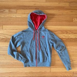 Tesla XS Gray and Red Zip up Hoodie